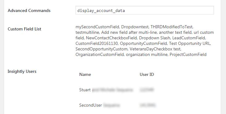 Screen shot showing Ninja Forms' new Display Account Data function