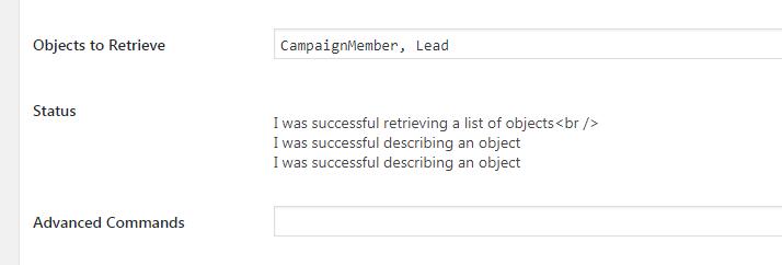 Screenshot of Salesforce Status display