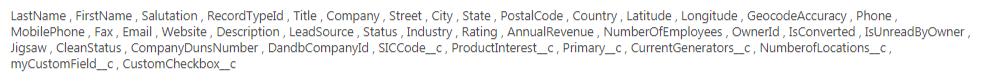 Screenshot of Salesforce's Lead fields